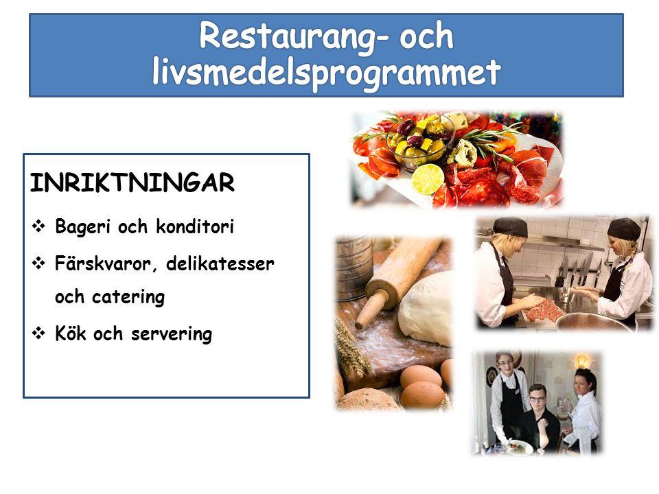 INRIKTNINGAR  Bageri och konditori  Färskvaror, delikatesser och catering  Kök och servering