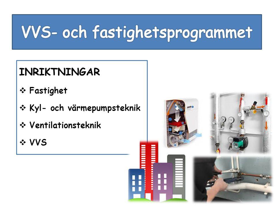 INRIKTNINGAR  Fastighet  Kyl- och värmepumpsteknik  Ventilationsteknik  VVS