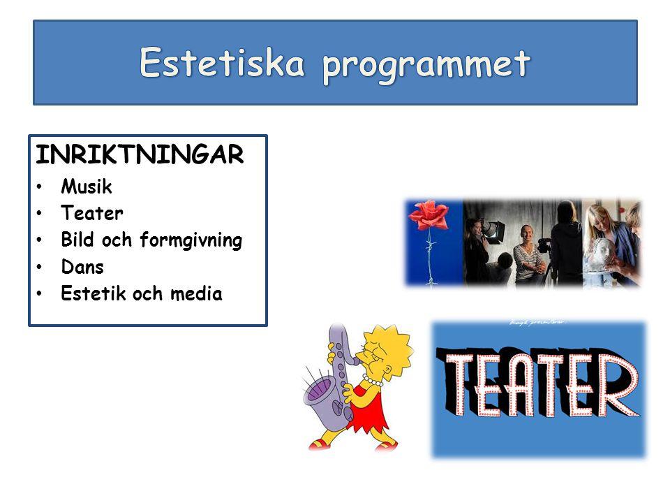 INRIKTNINGAR Musik Teater Bild och formgivning Dans Estetik och media