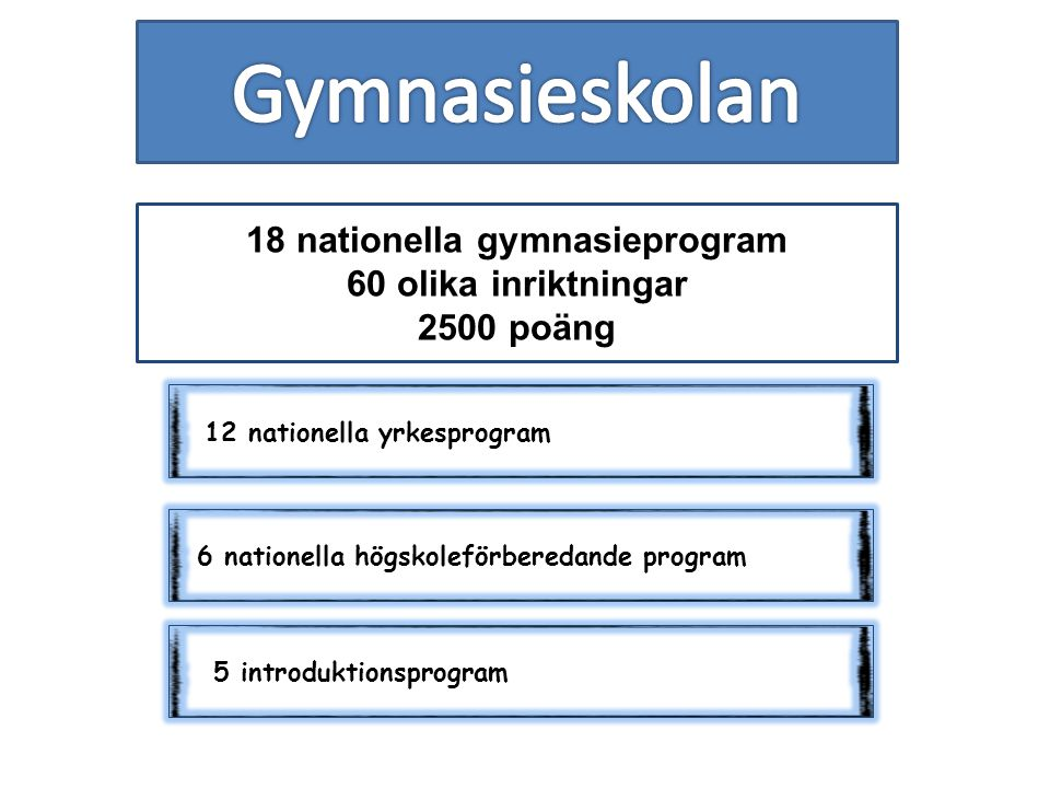 18 nationella gymnasieprogram 60 olika inriktningar 2500 poäng 12 nationella yrkesprogram 6 nationella högskoleförberedande program 5 introduktionsprogram
