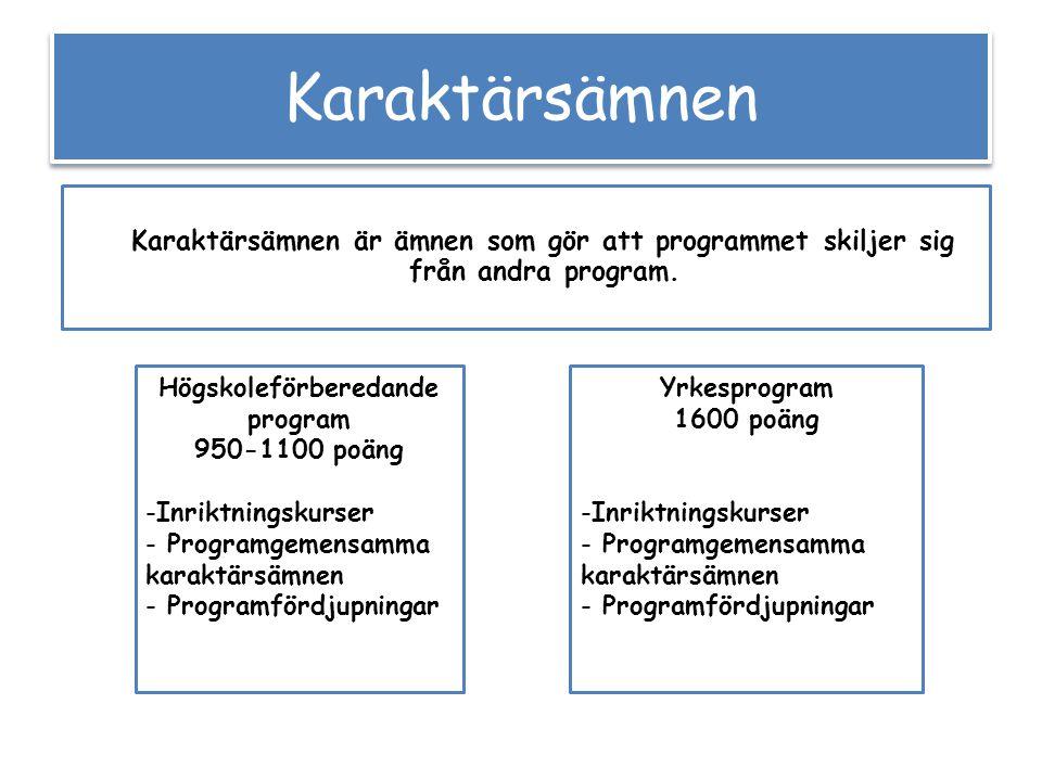 Karaktärsämnen Yrkesprogram 1600 poäng -Inriktningskurser - Programgemensamma karaktärsämnen - Programfördjupningar Högskoleförberedande program 950-1100 poäng -Inriktningskurser - Programgemensamma karaktärsämnen - Programfördjupningar