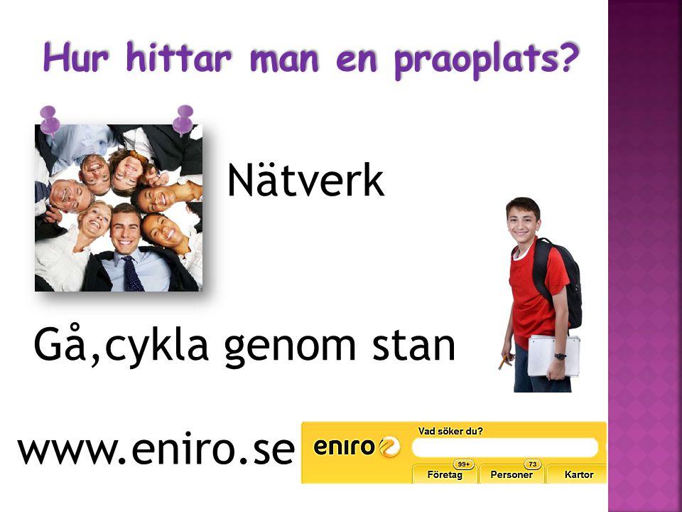 Nätverk Gå,cykla genom stan www.eniro.se Hur hittar man en praoplats?