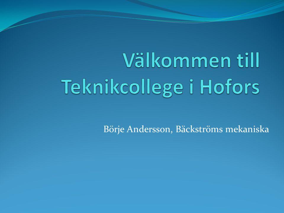 Börje Andersson, Bäckströms mekaniska