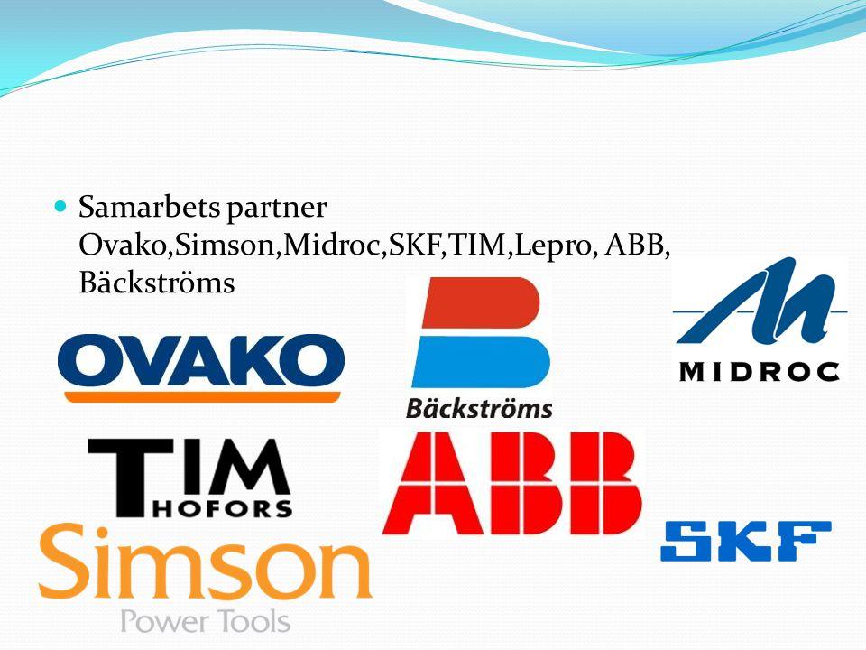 Samarbets partner Ovako,Simson,Midroc,SKF,TIM,Lepro, ABB, Bäckströms