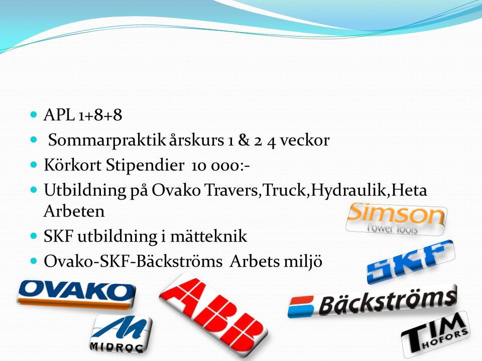 APL 1+8+8 Sommarpraktik årskurs 1 & 2 4 veckor Körkort Stipendier 10 000:- Utbildning på Ovako Travers,Truck,Hydraulik,Heta Arbeten SKF utbildning i m