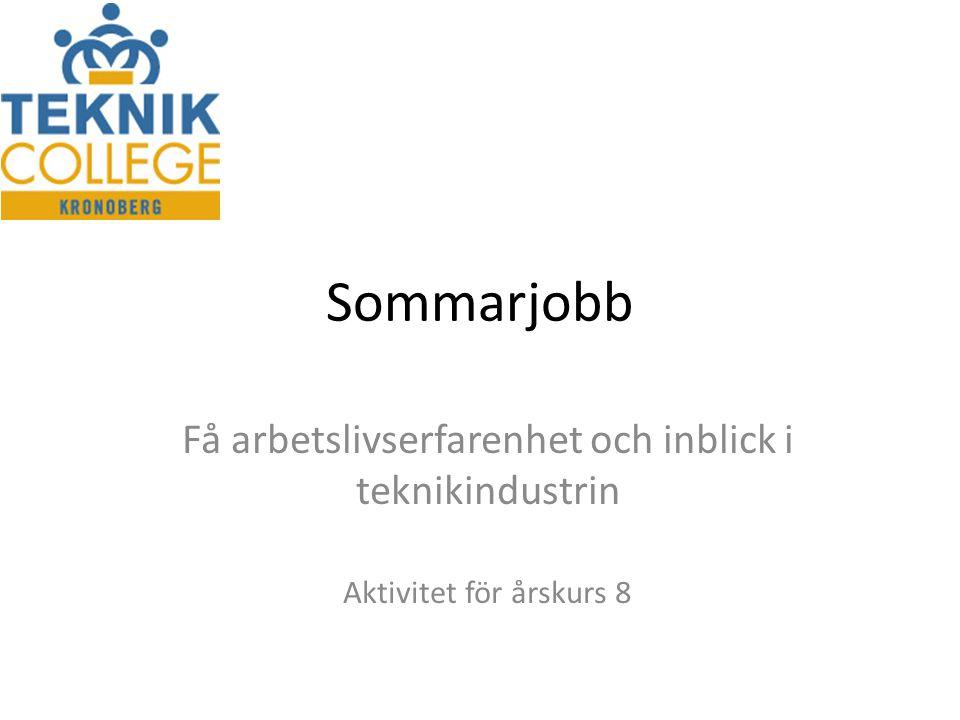 Sommarjobb Få arbetslivserfarenhet och inblick i teknikindustrin Aktivitet för årskurs 8