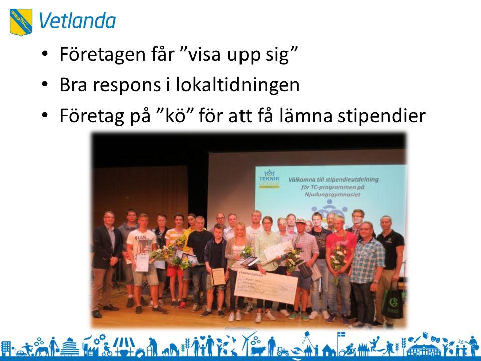 """Företagen får """"visa upp sig"""" Bra respons i lokaltidningen Företag på """"kö"""" för att få lämna stipendier"""