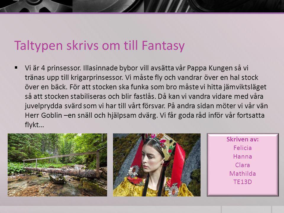 Taltypen skrivs om till Fantasy  Vi är 4 prinsessor. Illasinnade bybor vill avsätta vår Pappa Kungen så vi tränas upp till krigarprinsessor. Vi måste