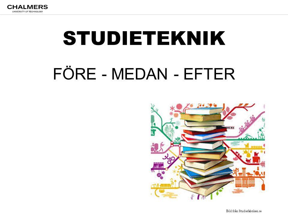STUDIETEKNIK FÖRE - MEDAN - EFTER Bild från Studiefabriken.se