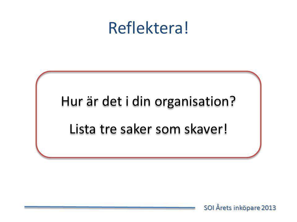 Reflektera.SOI Årets inköpare 2013 SOI Årets inköpare 2013 Hur är det i din organisation.