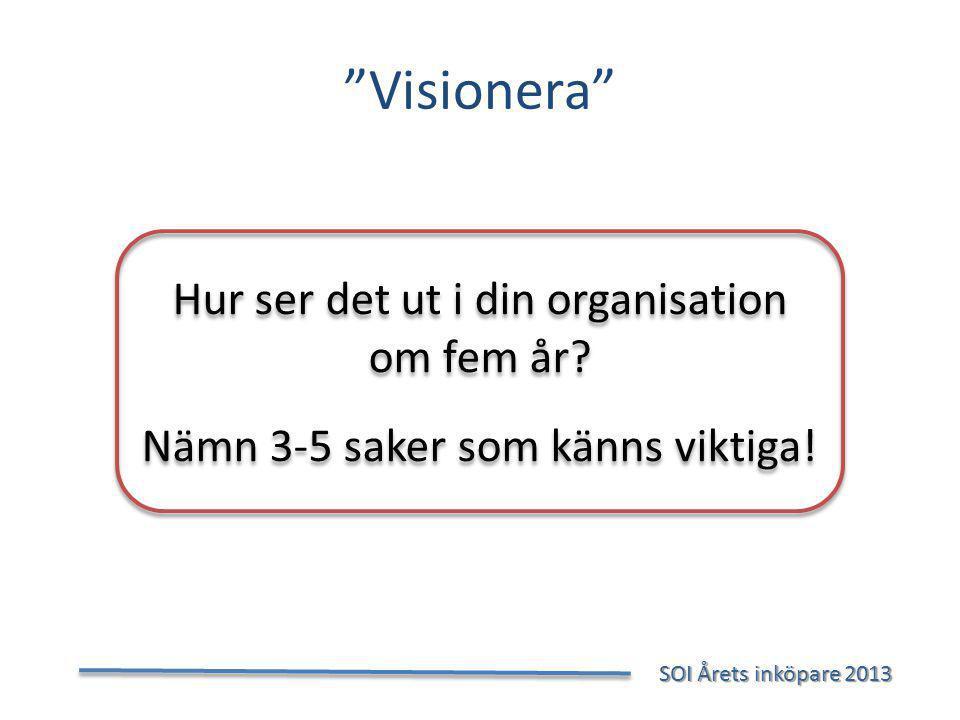 Visionera SOI Årets inköpare 2013 SOI Årets inköpare 2013 Hur ser det ut i din organisation om fem år.
