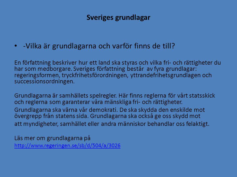 Sveriges grundlagar -Vilka är grundlagarna och varför finns de till? En författning beskriver hur ett land ska styras och vilka fri- och rättigheter d