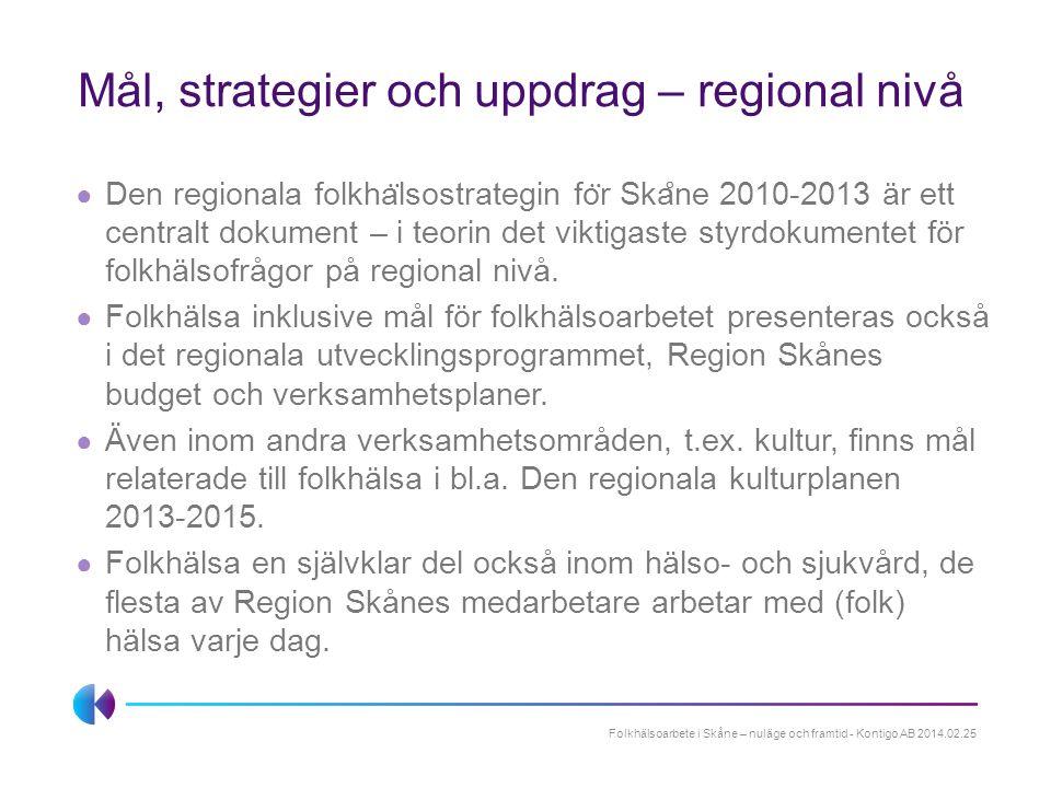 Mål, strategier och uppdrag – regional nivå ● Den regionala folkha ̈ lsostrategin fo ̈ r Ska ̊ ne 2010-2013 är ett centralt dokument – i teorin det vi