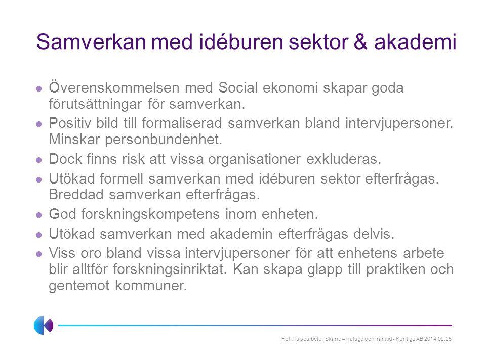 Samverkan med idéburen sektor & akademi ● Överenskommelsen med Social ekonomi skapar goda förutsättningar för samverkan. ● Positiv bild till formalise