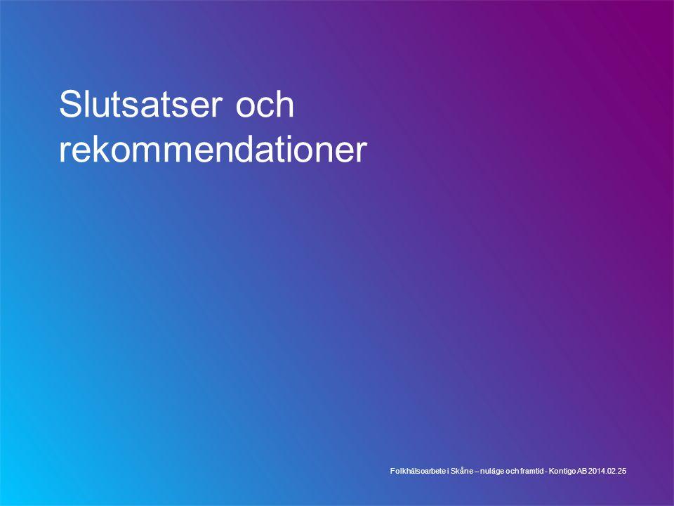 Slutsatser och rekommendationer Folkhälsoarbete i Skåne – nuläge och framtid - Kontigo AB 2014.02.25