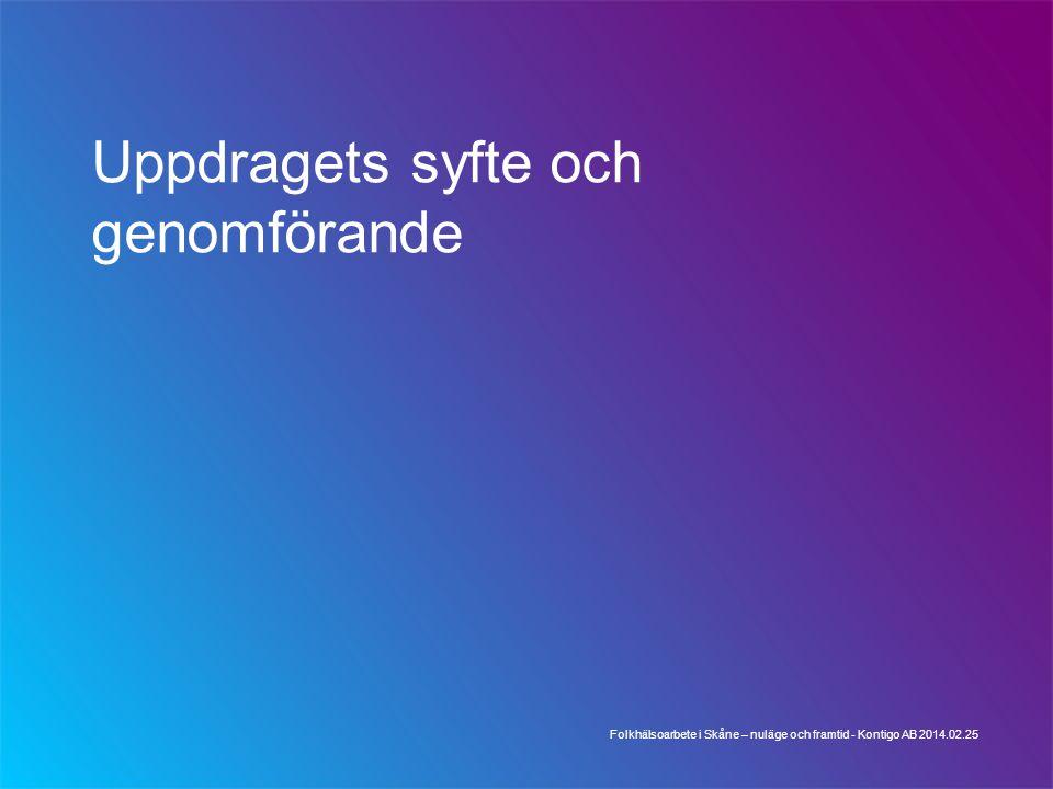 Uppdragets syfte och genomförande Folkhälsoarbete i Skåne – nuläge och framtid - Kontigo AB 2014.02.25