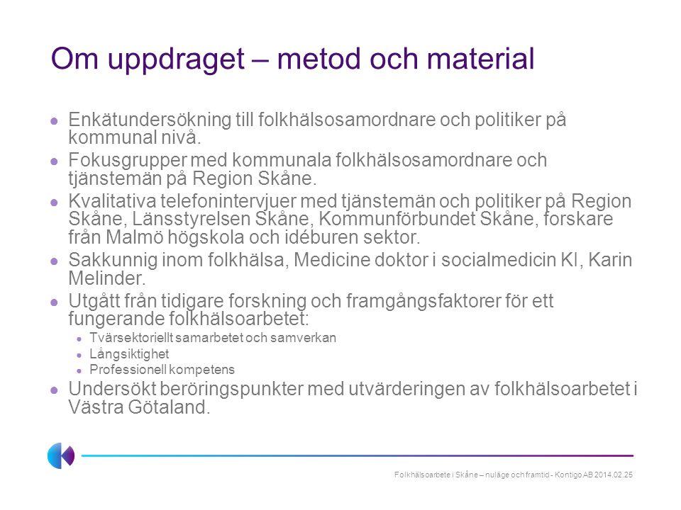 Sammanfattning av utvärderingens resultat Mål strategier och uppdrag Organisering av folkhälsoarbetet på regional och lokal nivå Samverkan Mandat och påverkan Folkhälsoarbete i Skåne – nuläge och framtid - Kontigo AB 2014.02.25