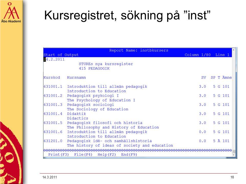 """Kursregistret, sökning på """"inst"""" 14.3.201118"""