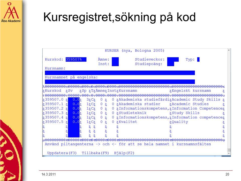 Kursregistret,sökning på kod 14.3.201120