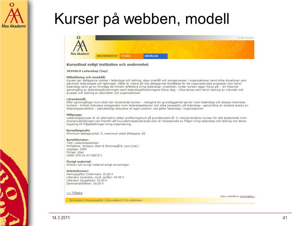 Kurser på webben, modell 14.3.201141