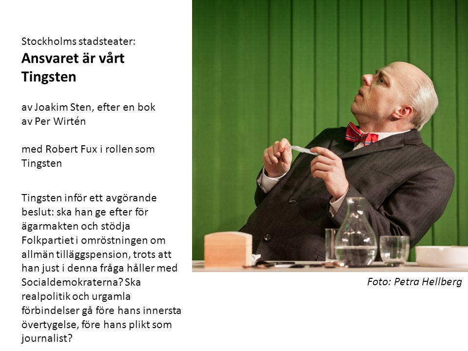 Foto: Petra Hellberg Stockholms stadsteater: Ansvaret är vårt Tingsten av Joakim Sten, efter en bok av Per Wirtén med Robert Fux i rollen som Tingsten