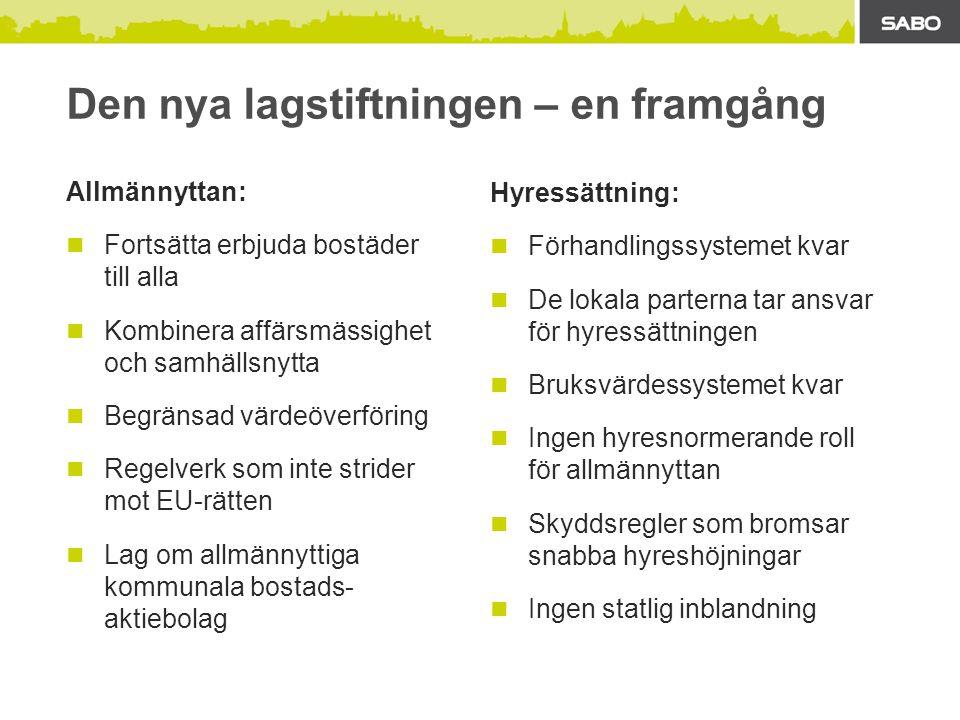 Den nya lagstiftningen – en framgång Allmännyttan: Fortsätta erbjuda bostäder till alla Kombinera affärsmässighet och samhällsnytta Begränsad värdeöverföring Regelverk som inte strider mot EU-rätten Lag om allmännyttiga kommunala bostads- aktiebolag Hyressättning: Förhandlingssystemet kvar De lokala parterna tar ansvar för hyressättningen Bruksvärdessystemet kvar Ingen hyresnormerande roll för allmännyttan Skyddsregler som bromsar snabba hyreshöjningar Ingen statlig inblandning