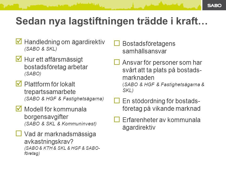 Sedan nya lagstiftningen trädde i kraft…  Handledning om ägardirektiv (SABO & SKL)  Hur ett affärsmässigt bostadsföretag arbetar (SABO)  Plattform för lokalt trepartssamarbete (SABO & HGF & Fastighetsägarna)  Modell för kommunala borgensavgifter (SABO & SKL & Kommuninvest)  Vad är marknadsmässiga avkastningskrav.