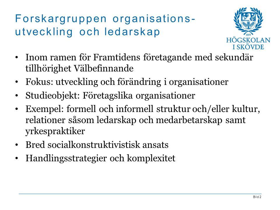 Bild 2 Forskargruppen organisations- utveckling och ledarskap Inom ramen för Framtidens företagande med sekundär tillhörighet Välbefinnande Fokus: utv
