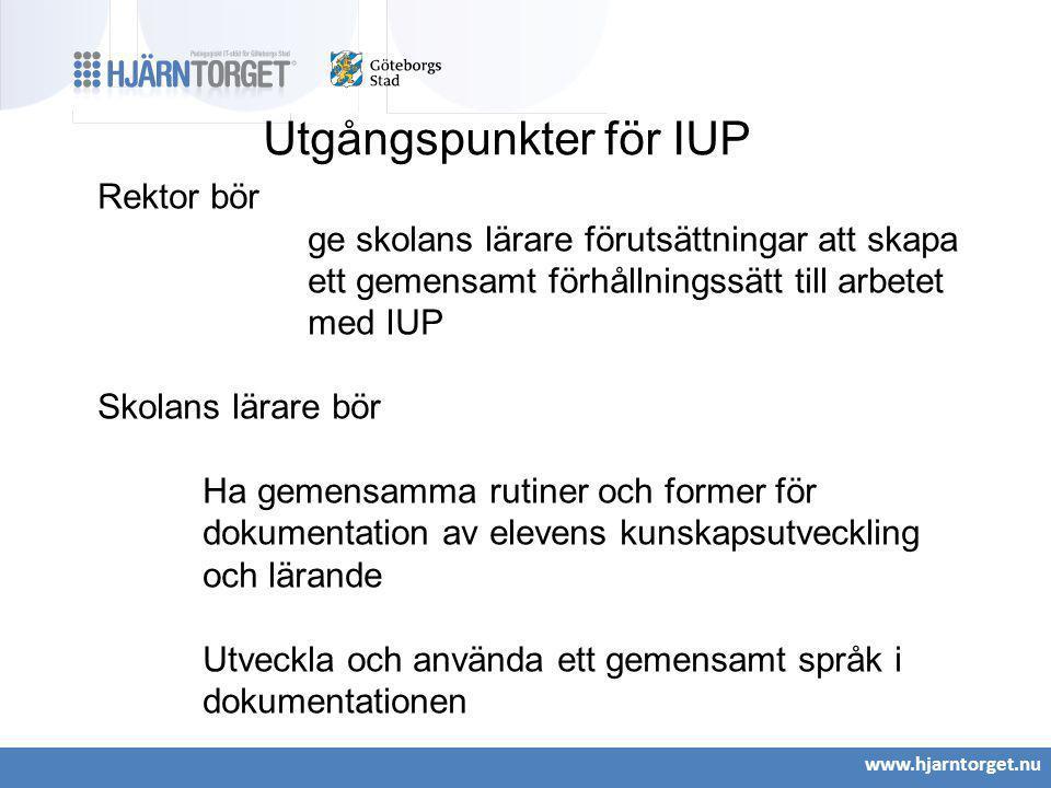 www.hjarntorget.nu Utgångspunkter för IUP Rektor bör ge skolans lärare förutsättningar att skapa ett gemensamt förhållningssätt till arbetet med IUP S