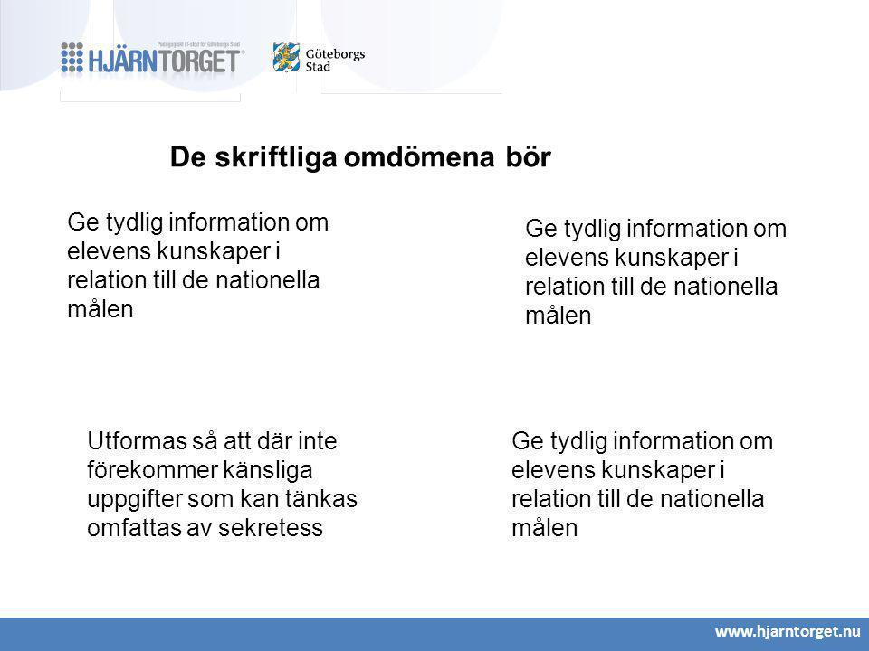 www.hjarntorget.nu De skriftliga omdömena bör Ge tydlig information om elevens kunskaper i relation till de nationella målen Utformas så att där inte