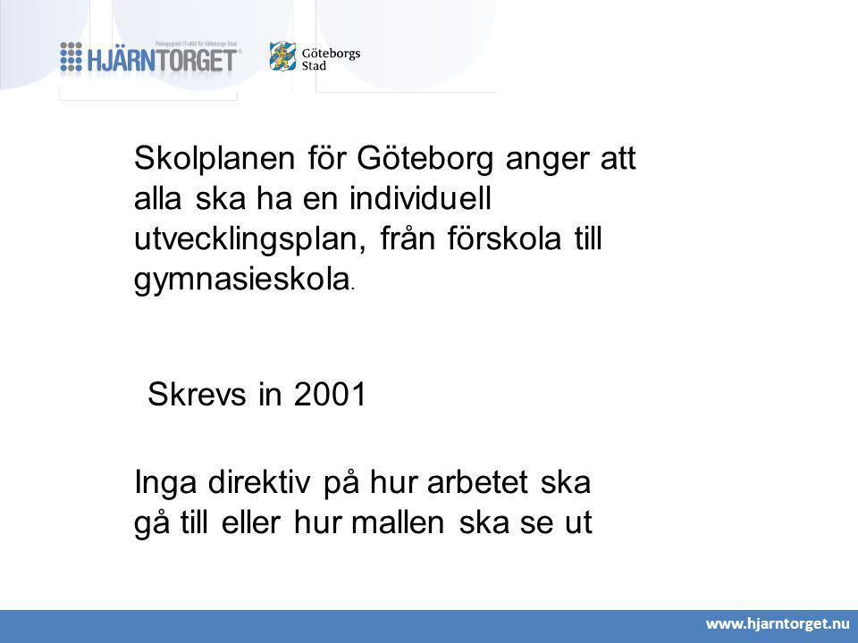 www.hjarntorget.nu Skolplanen för Göteborg anger att alla ska ha en individuell utvecklingsplan, från förskola till gymnasieskola. Skrevs in 2001 Inga