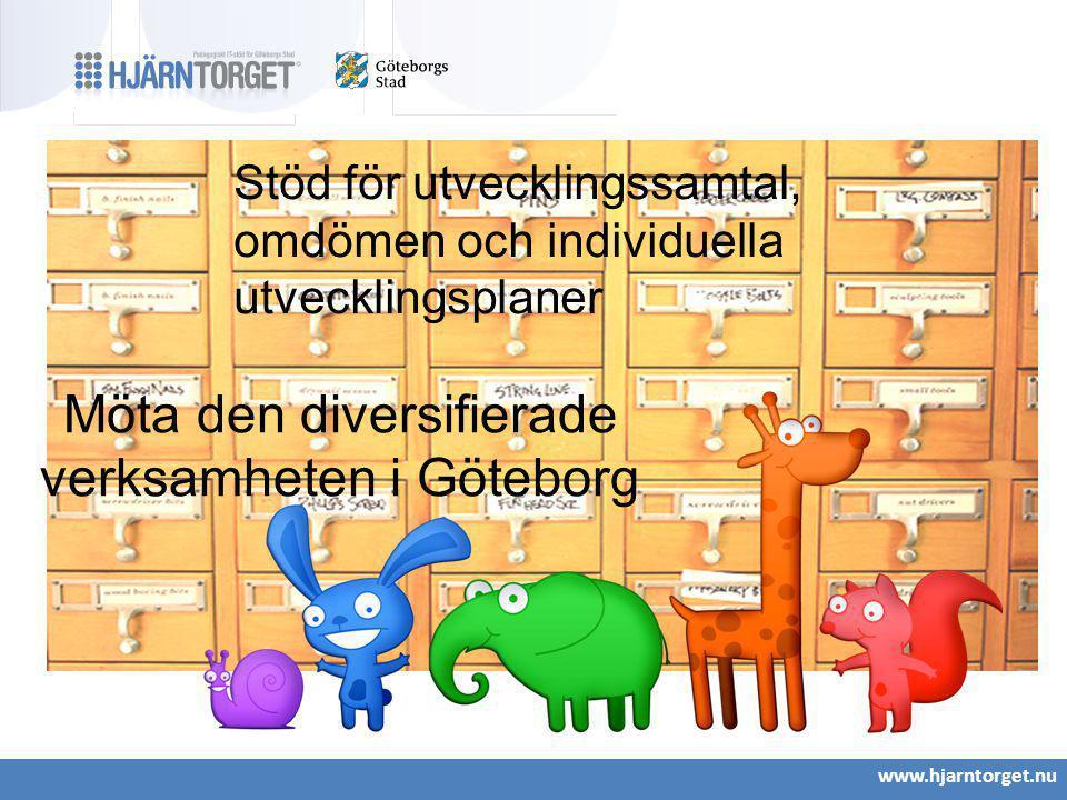 www.hjarntorget.nu Stöd för utvecklingssamtal, omdömen och individuella utvecklingsplaner Möta den diversifierade verksamheten i Göteborg