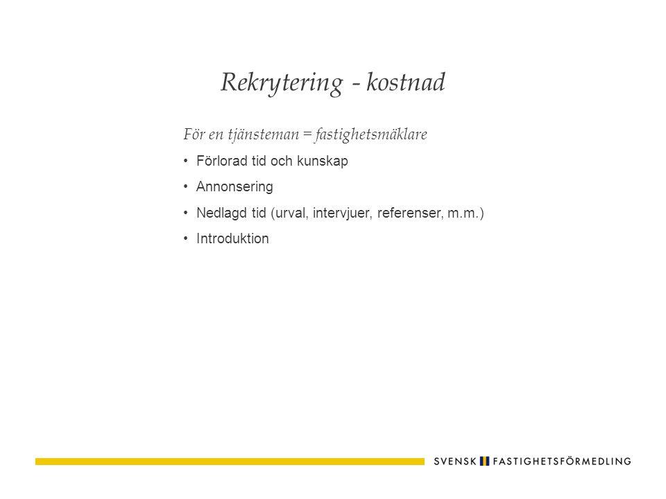 För en tjänsteman = fastighetsmäklare Förlorad tid och kunskap Annonsering Nedlagd tid (urval, intervjuer, referenser, m.m.) Introduktion Rekrytering