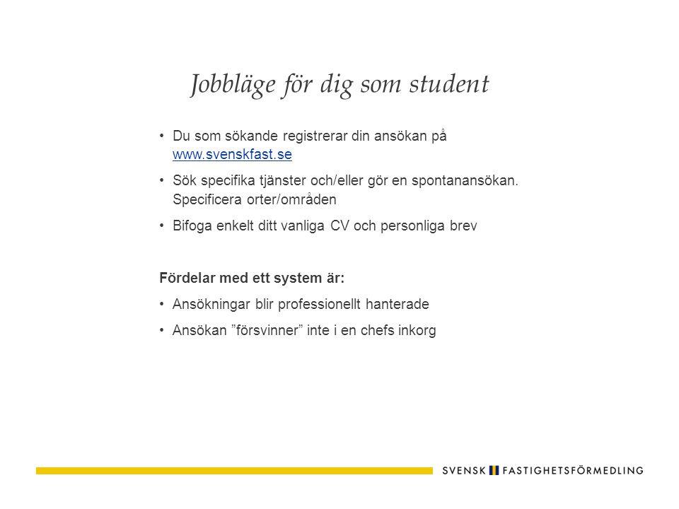 Du som sökande registrerar din ansökan på www.svenskfast.se www.svenskfast.se Sök specifika tjänster och/eller gör en spontanansökan. Specificera orte