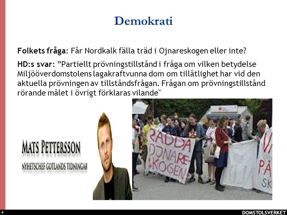 """4 Demokrati Folkets fråga: Får Nordkalk fälla träd i Ojnareskogen eller inte? HD:s svar: """"Partiellt prövningstillstånd i fråga om vilken betydelse Mil"""