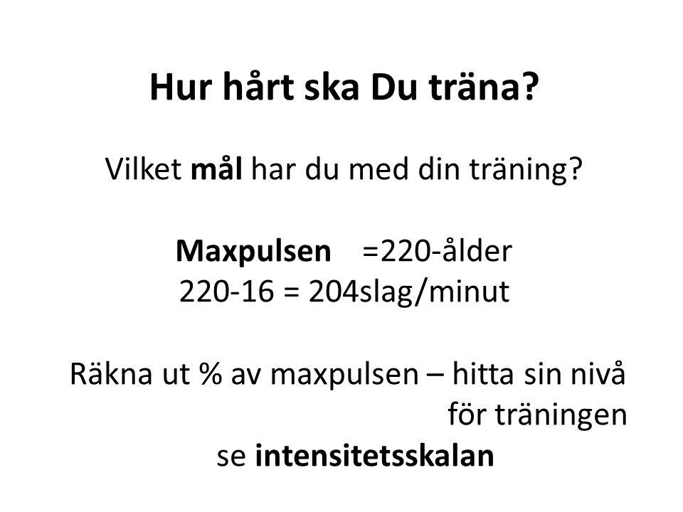 Hur hårt ska Du träna? Vilket mål har du med din träning? Maxpulsen =220-ålder 220-16 = 204slag/minut Räkna ut % av maxpulsen – hitta sin nivå för trä