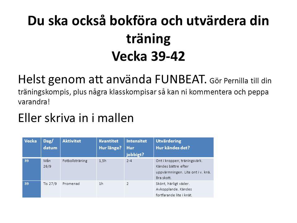 Du ska också bokföra och utvärdera din träning Vecka 39-42 Helst genom att använda FUNBEAT. Gör Pernilla till din träningskompis, plus några klasskomp