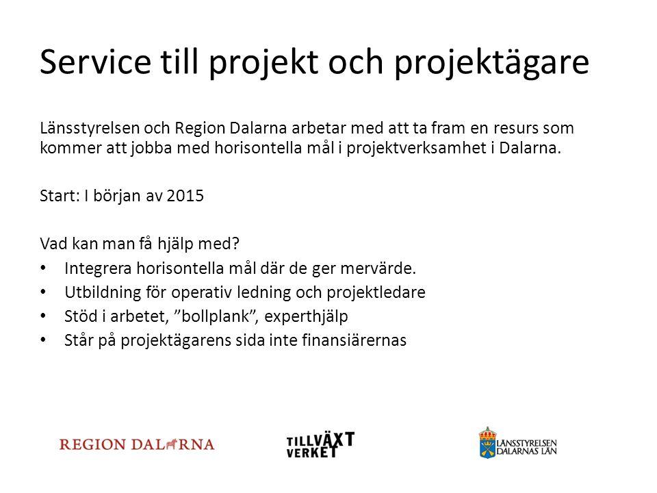 Service till projekt och projektägare Länsstyrelsen och Region Dalarna arbetar med att ta fram en resurs som kommer att jobba med horisontella mål i p