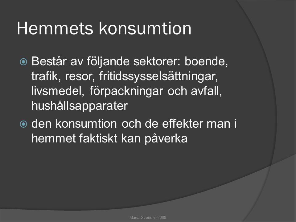 Hemmets konsumtion  Består av följande sektorer: boende, trafik, resor, fritidssysselsättningar, livsmedel, förpackningar och avfall, hushållsapparat