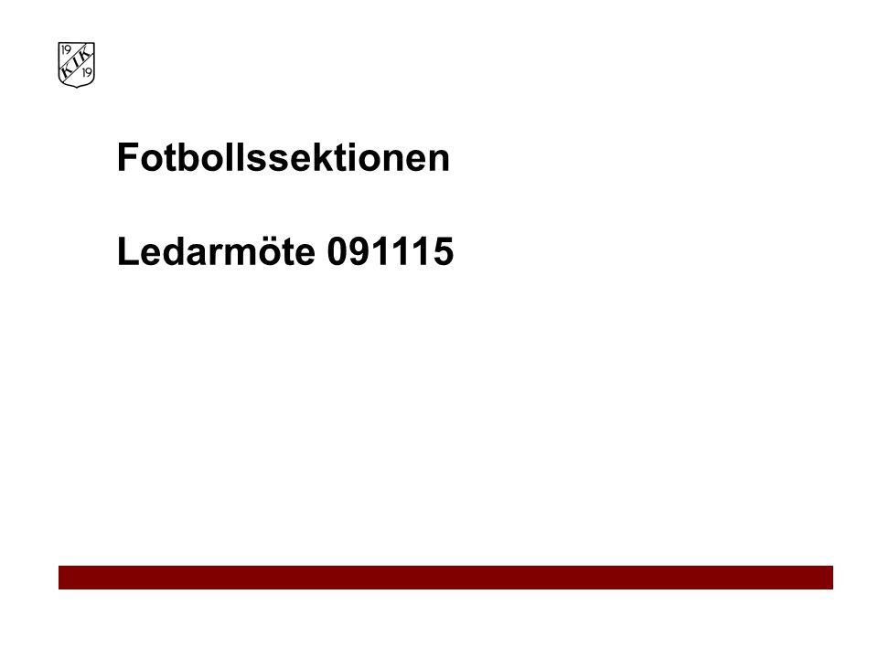 Fotbollssektionen Ledarmöte 091115