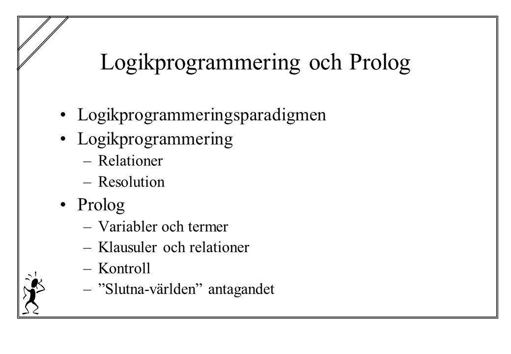 Logikprogrammering och Prolog Logikprogrammeringsparadigmen Logikprogrammering –Relationer –Resolution Prolog –Variabler och termer –Klausuler och rel