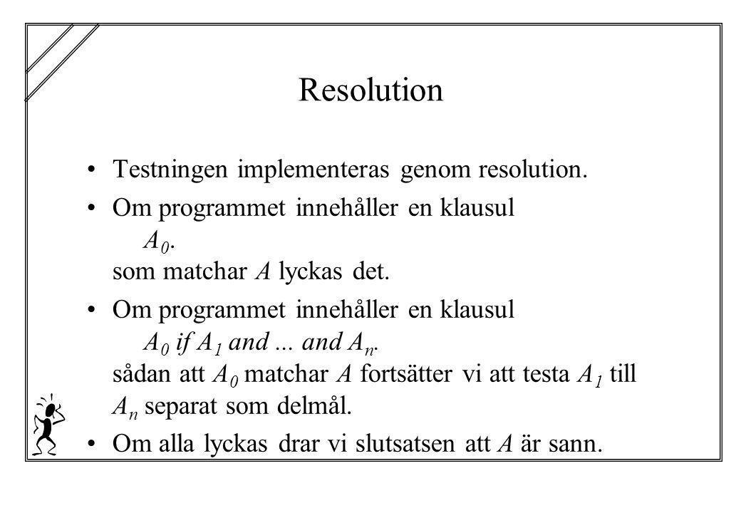 Resolution Testningen implementeras genom resolution. Om programmet innehåller en klausul A 0. som matchar A lyckas det. Om programmet innehåller en k
