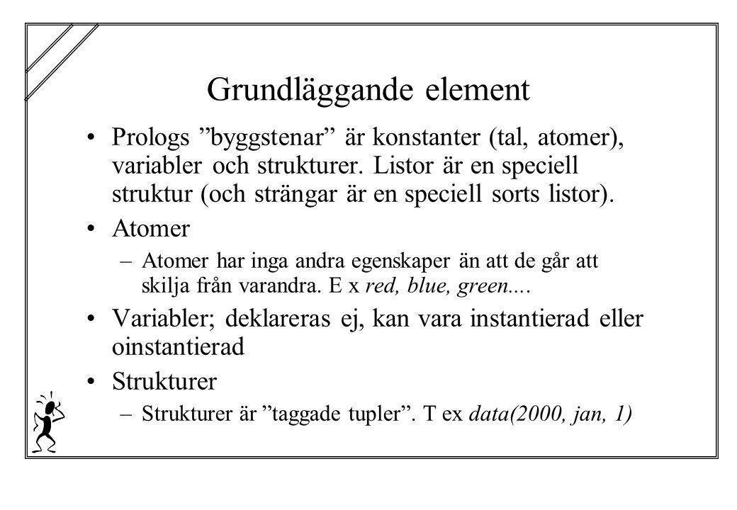 """Grundläggande element Prologs """"byggstenar"""" är konstanter (tal, atomer), variabler och strukturer. Listor är en speciell struktur (och strängar är en s"""