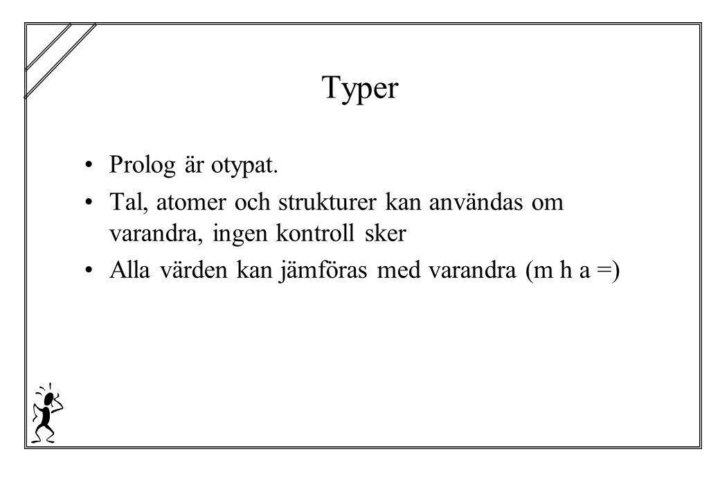 Typer Prolog är otypat. Tal, atomer och strukturer kan användas om varandra, ingen kontroll sker Alla värden kan jämföras med varandra (m h a =)