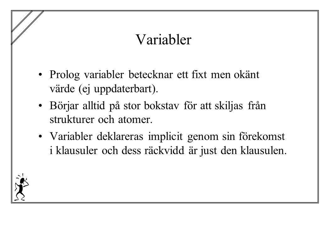 Variabler Prolog variabler betecknar ett fixt men okänt värde (ej uppdaterbart). Börjar alltid på stor bokstav för att skiljas från strukturer och ato