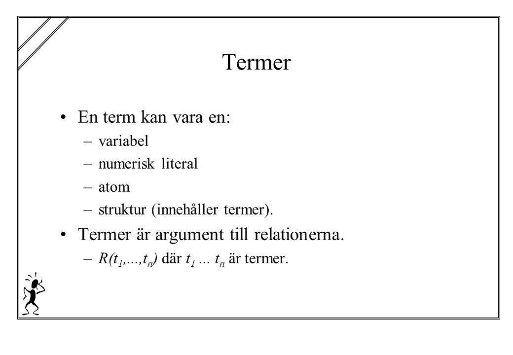 Termer En term kan vara en: –variabel –numerisk literal –atom –struktur (innehåller termer). Termer är argument till relationerna. –R(t 1,...,t n ) dä