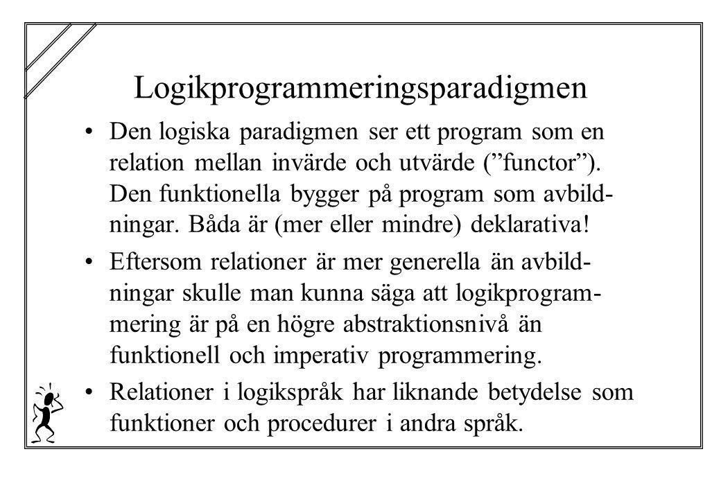 """Logikprogrammeringsparadigmen Den logiska paradigmen ser ett program som en relation mellan invärde och utvärde (""""functor""""). Den funktionella bygger p"""