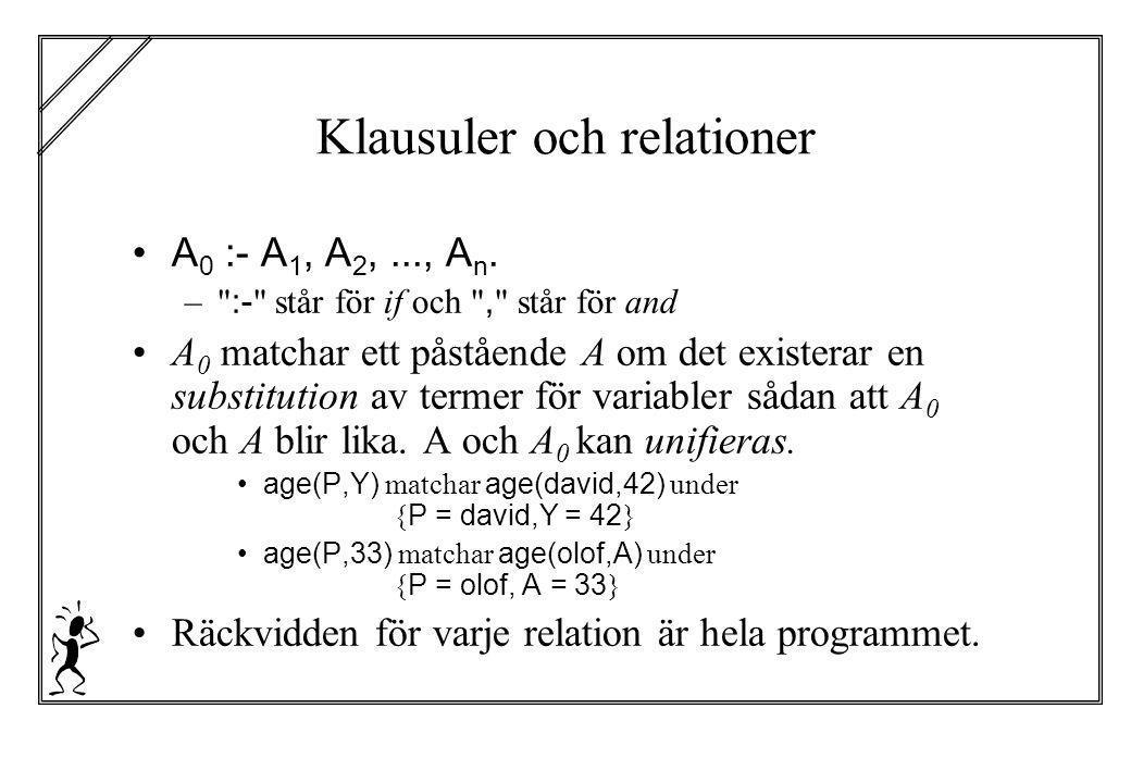 Klausuler och relationer A 0 :- A 1, A 2,..., A n. –