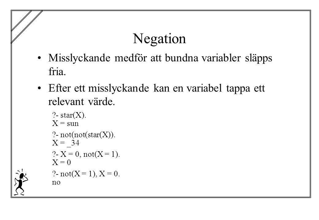Negation Misslyckande medför att bundna variabler släpps fria. Efter ett misslyckande kan en variabel tappa ett relevant värde. ?- star(X). X = sun ?-