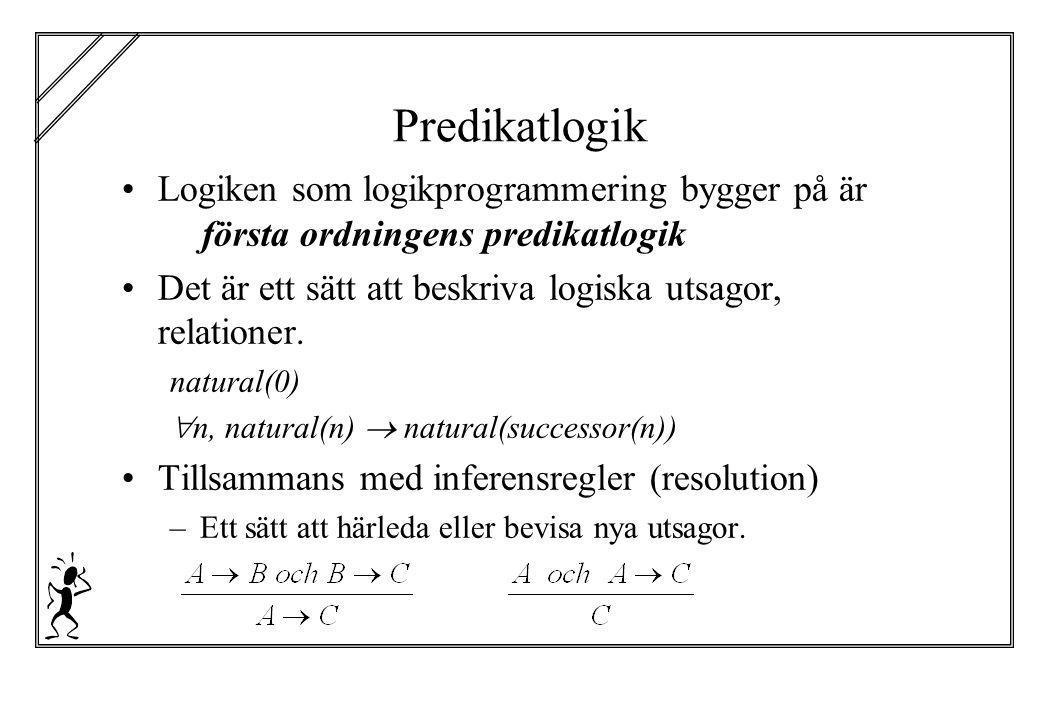 Predikatlogik Logiken som logikprogrammering bygger på är första ordningens predikatlogik Det är ett sätt att beskriva logiska utsagor, relationer. na